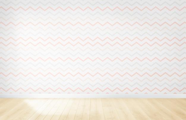 Papel pintado en colores pastel en una habitación vacía con piso de madera Foto gratis