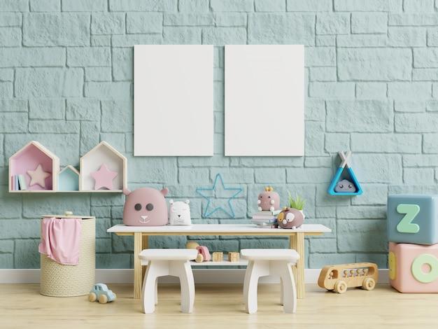 Papel pintado interior de la habitación de los niños / carteles de maquetas en el interior de la habitación infantil. Foto Premium