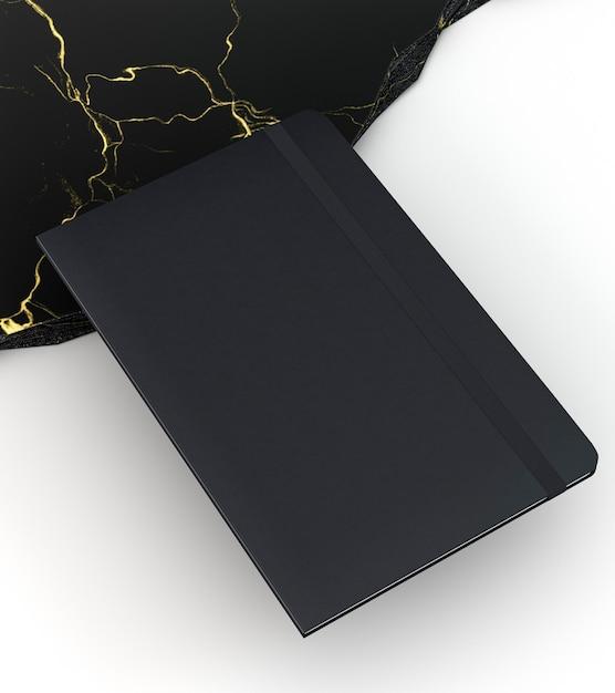 Papelería de libreta negra de alta vista Foto gratis