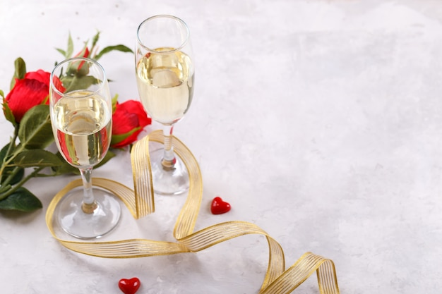 Par de copas de champagne Foto Premium
