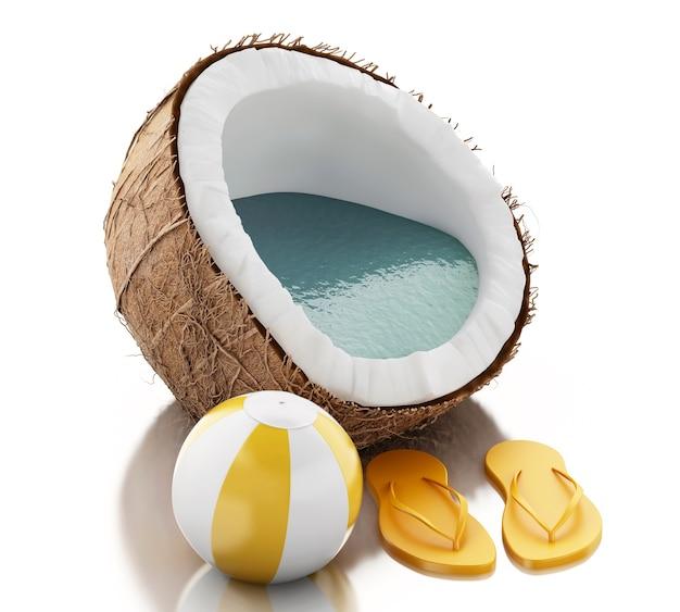 Paraíso del coco 3d en el fondo blanco Foto Premium