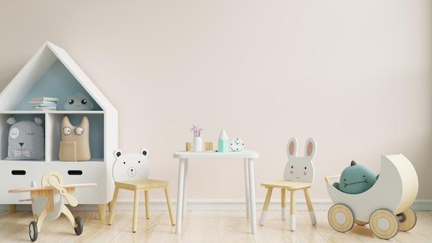 Pared en la habitación de los niños en el fondo de la pared blanca. Foto Premium