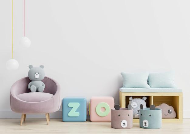 Pared en la habitación de los niños sobre fondo de color blanco de pared. Foto Premium