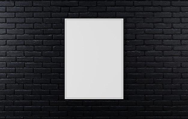 Pared de ladrillo negro, fondo oscuro para el diseño, maqueta cartel en la pared, render 3d Foto Premium
