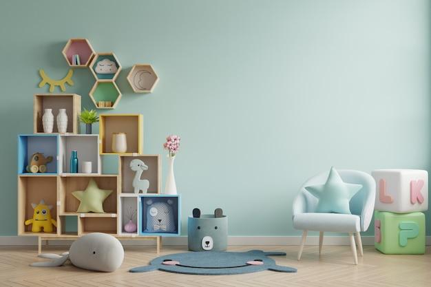 Pared de la maqueta en la habitación de los niños sobre fondo de colores verdes de pared. Foto Premium
