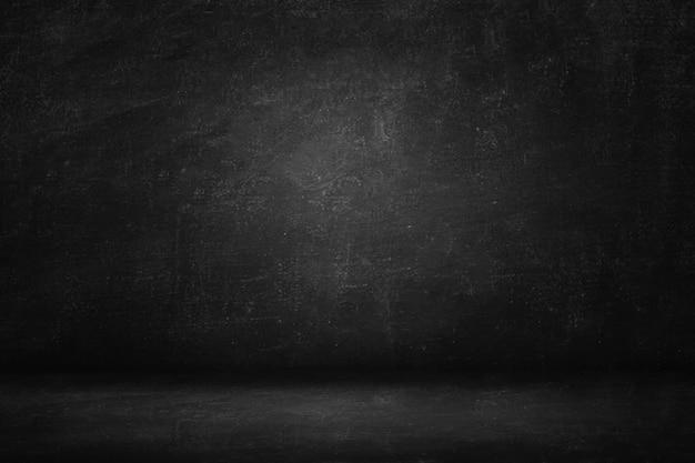 Pared negra y banner de fondo de textura, sala de estudio de gradiente oscuro en blanco o pizarra Foto Premium