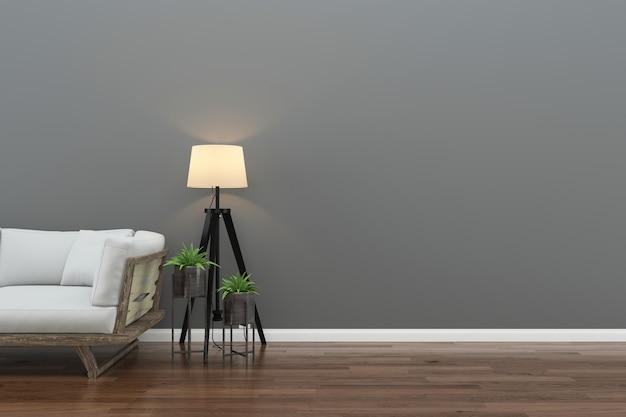 Pared piso de madera interior sofá silla lámpara interior sala de estar 3d Foto Premium