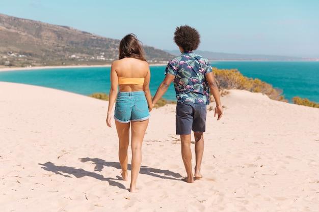 Pareja cogidos de la mano y caminando al mar a lo largo de la playa con la espalda a la cámara Foto gratis