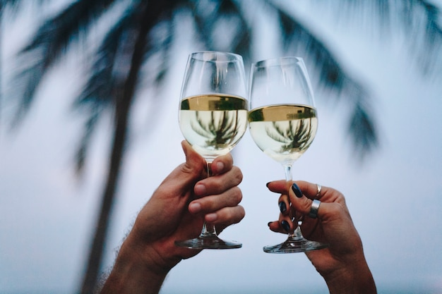 Pareja disfrutando de una copa de vino en la playa Foto gratis
