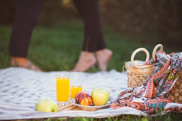 Pareja embarazada en picnic. fruta y una cesta closeup Foto gratis