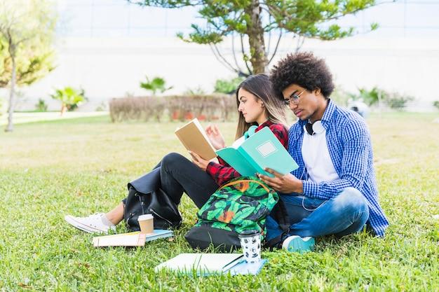 Pareja de estudiantes diversos sentados juntos en el césped leyendo el libro Foto gratis