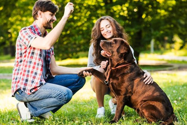 Pareja jugando con su perro en el parque