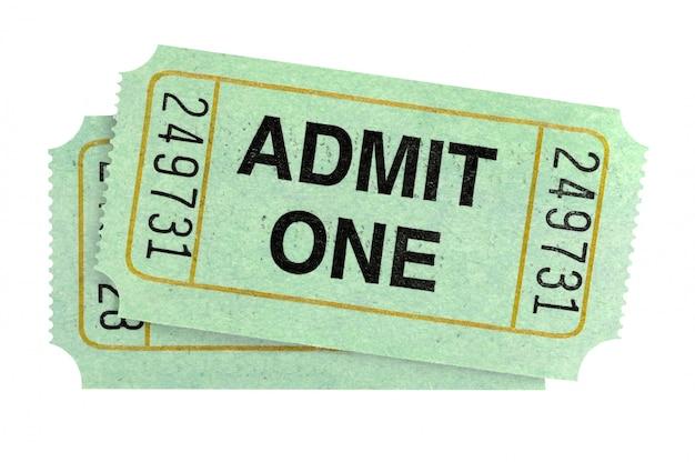 Los pares de admiten boletos uno aislados en el fondo blanco. Foto gratis