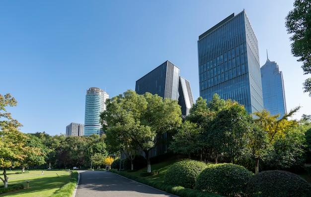 Parque forestal y paisaje de arquitectura urbana de ningbo Foto Premium