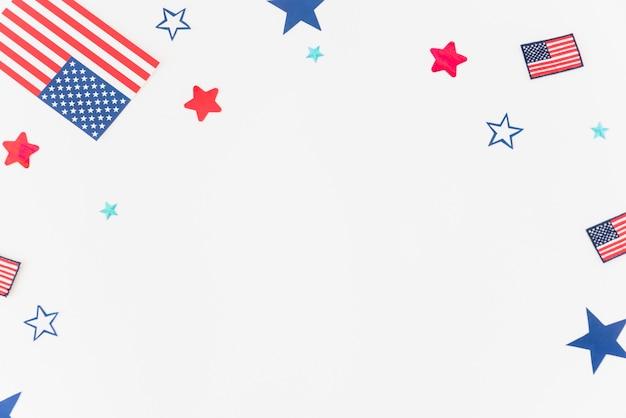 Partes de la bandera de estados unidos sobre fondo blanco Foto gratis