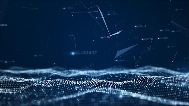 Partículas abstractas digitales y fondo de datos de red Foto Premium