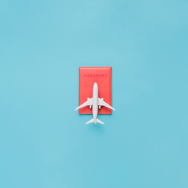 Pasaporte en estuche rojo y avión de juguete. Foto gratis