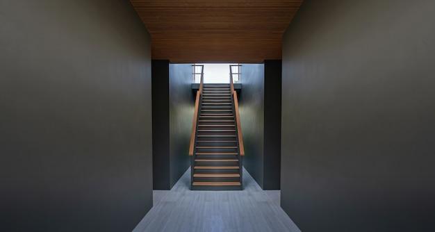 Pasarela y escaleras sobre fondo de pared negro Foto Premium