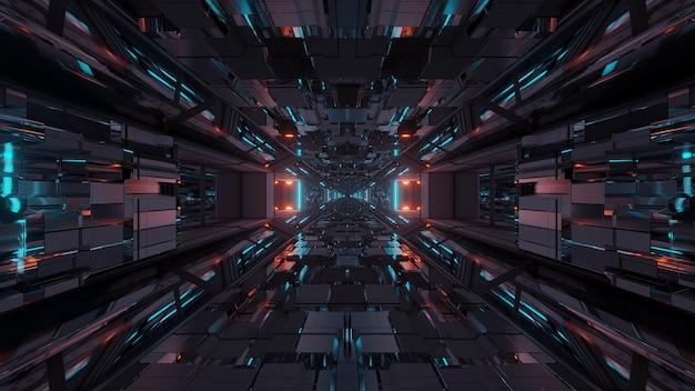 Pasillo del túnel espacial de ciencia ficción futurista con luces brillantes Foto gratis