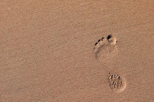 Pasos en la arena de la playa Foto Premium