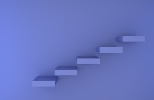 Pasos de escalera azul prestados fondo Foto Premium