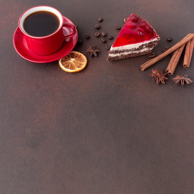 Pastel encantador y espacio de copia de café Foto gratis