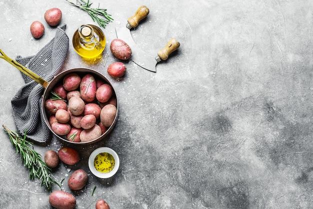 Patatas orgánicas crudas con especias sobre fondo gris Foto gratis