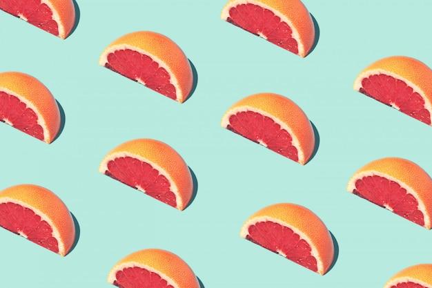 Patrón de comida de moda alimentaria con pomelos. Foto Premium