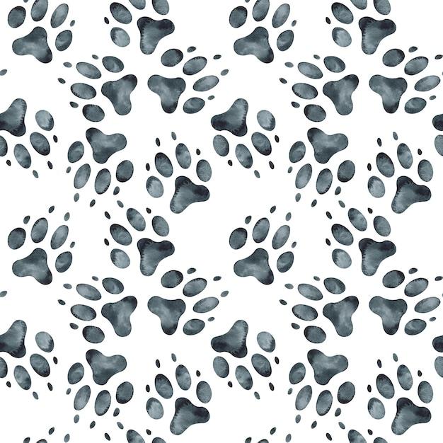 Patrón sin fisuras de la huella del perro. ilustración acuarela Foto Premium