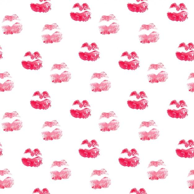 Patrón sin fisuras con labios de beso Foto Premium