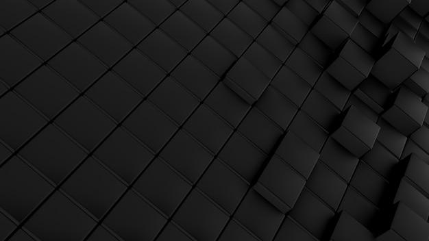 Patrón de ondas minimalistas de cubos. fondo futurista abstracto de la superficie que agita cúbica negra. Foto Premium