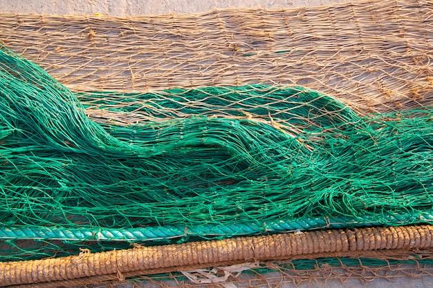 Patrón de textura de redes de pesca sobre el suelo Foto Premium