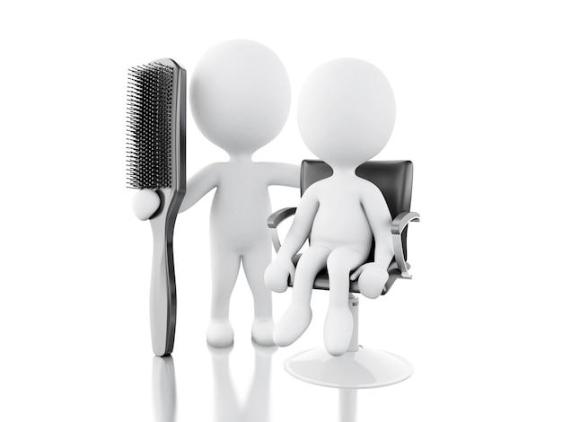 Peluqueria 3d con cepillo para el pelo. Foto Premium