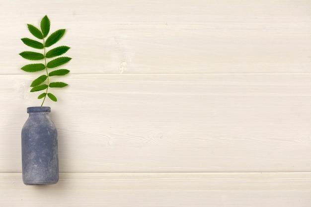 Una pequeña botella de rama de primavera. Foto Premium