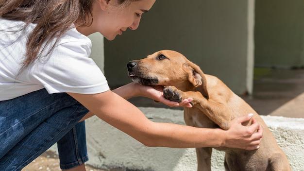 Perro de rescate disfrutando de ser mascota por mujer en el refugio Foto gratis