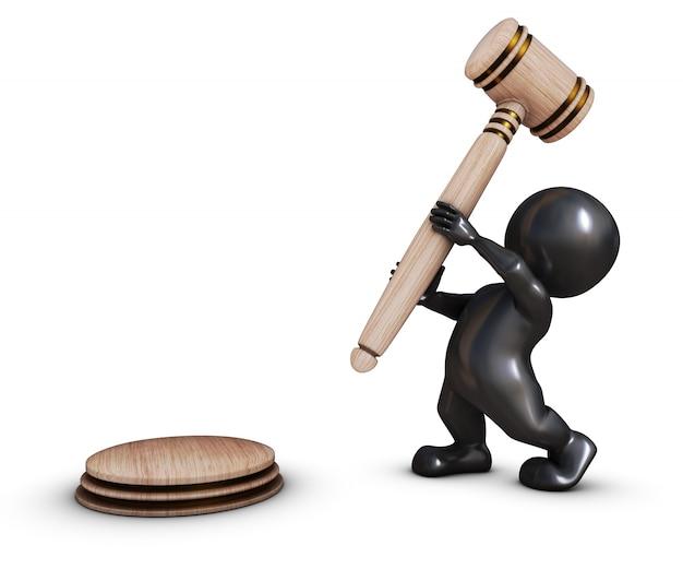 Persona con un martillo de juzgado Foto Gratis