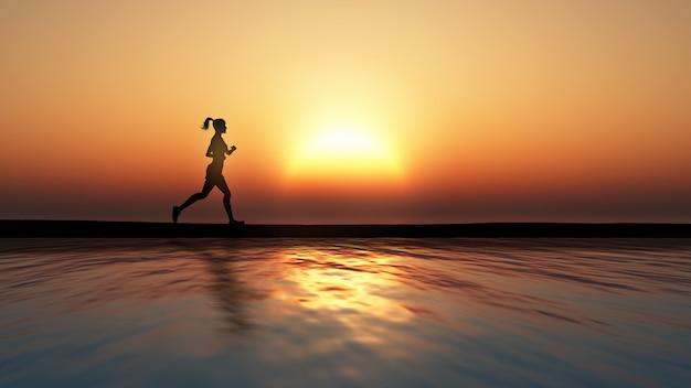 Persona corriendo en la playa, atardecer Foto gratis