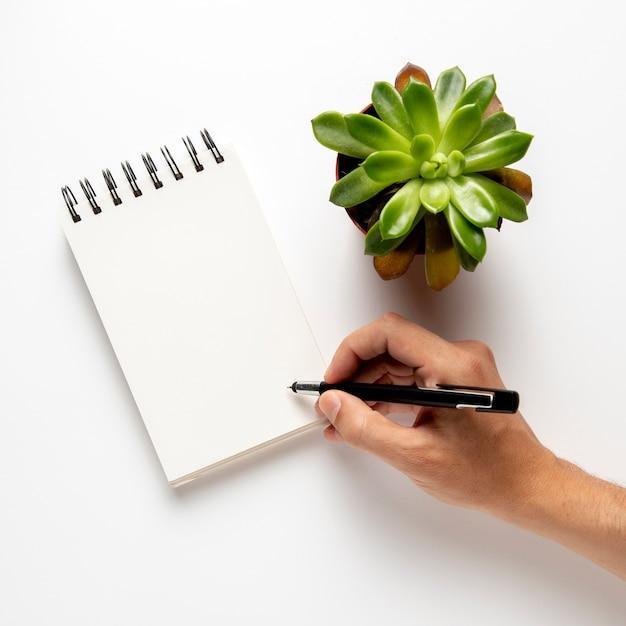 Persona escribiendo en el bloc de notas con bolígrafo Foto gratis