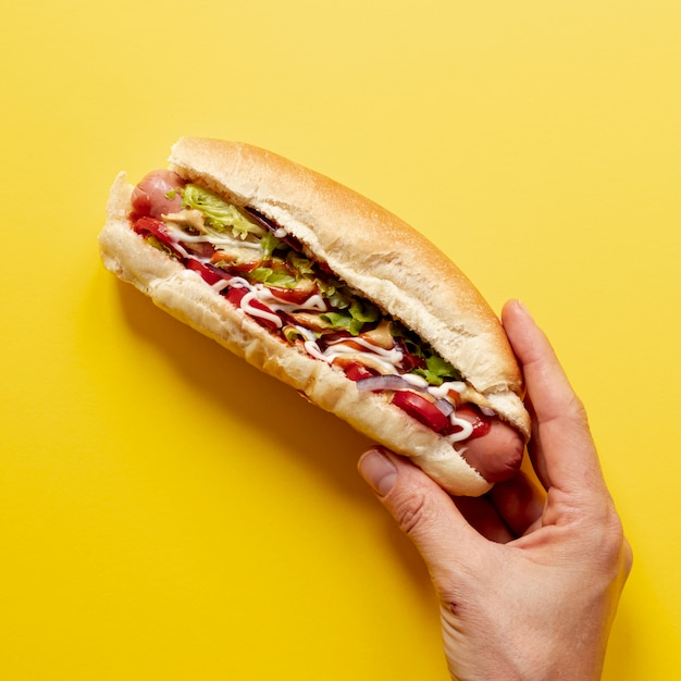 Persona de primer plano con hot dog Foto gratis
