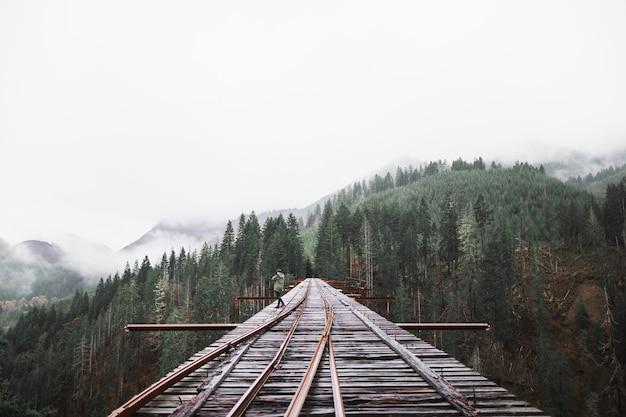 Persona en el puente del ferrocarril Foto gratis