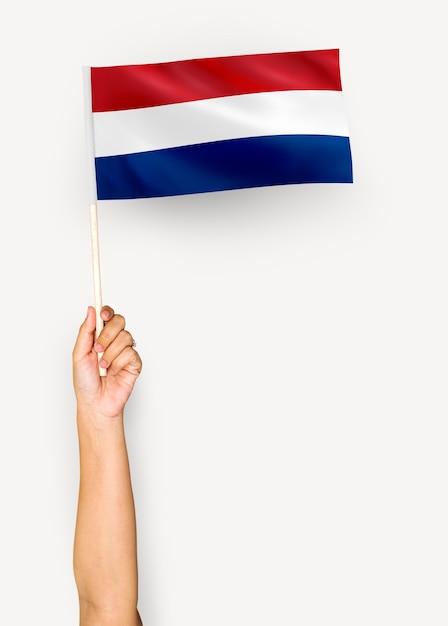 Persona que agita la bandera de los países bajos Foto gratis
