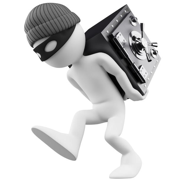 Personaje blanco 3d ladrón de bancos Foto Premium