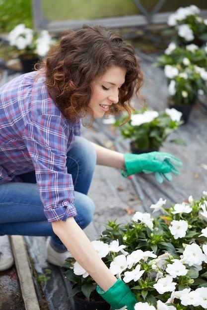 Las personas que trabajan en una tienda de jardinería Foto Premium