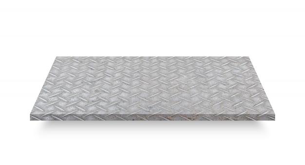 Perspectiva de la placa de acero del diamante aislada en el fondo blanco. objeto con trazado de recorte Foto Premium