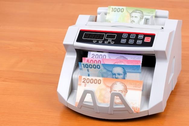 Peso chileno en una máquina contadora Foto Premium
