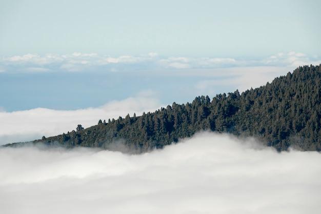 Pico de montaña sobre las nubes Foto gratis
