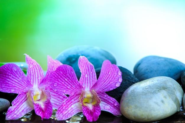Piedra zen y orquídea rosa en la mesa de madera con espacio de copia para texto o producto Foto Premium