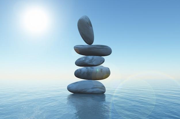 Piedras de equilibrio 3d en el océano Foto gratis