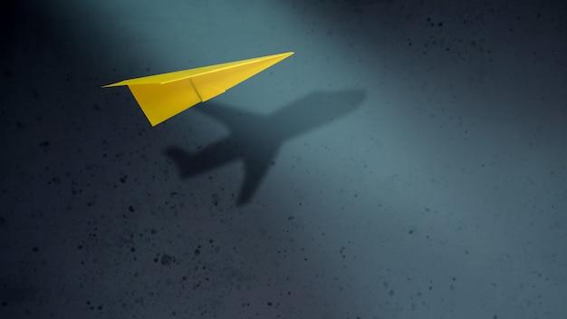 Piense en grande y el concepto de motivación. aviones de papel volando con sombra Foto Premium