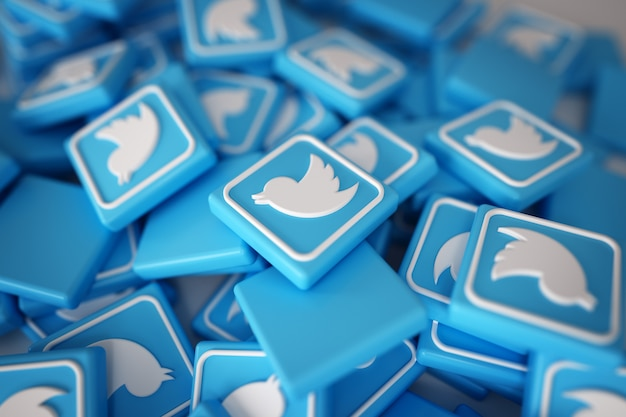 Pila de 3d logos de twitter Foto gratis